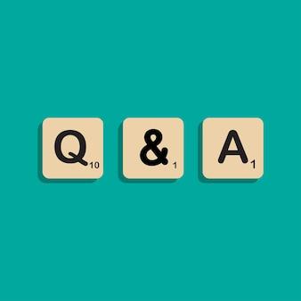 Qa question et réponses lettrage typographique dans le concept de l'alphabet bloc scrabbles