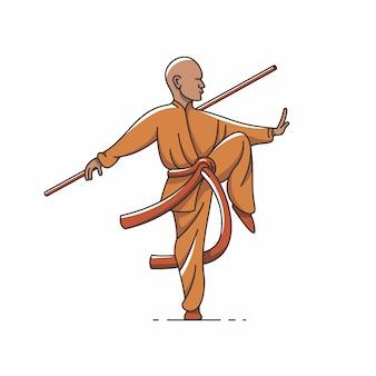 Qigong, tai chi, illustration de contour, icône.
