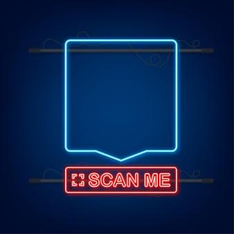 Qr code pour smartphone. l'inscription me scanne avec l'icône du smartphone. code qr pour le paiement. icône néon. illustration vectorielle.