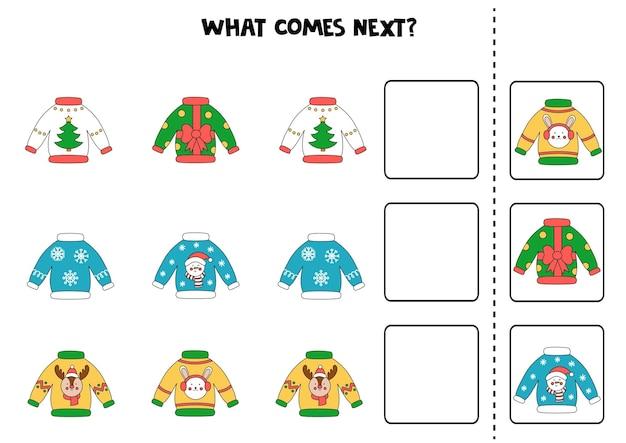 Qu'est-ce qui vient ensuitequ'est-ce qui vient après le jeu avec des pulls de noël laids. jeu de logique éducatif pour les enfants.
