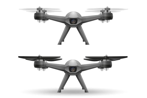 Quadrocopter intelligent de drone mobile aérien quadrirotor pour prise de vue vidéo et photo isolé sur blanc