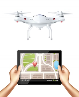 Quadrocopter et mains tenant une tablette