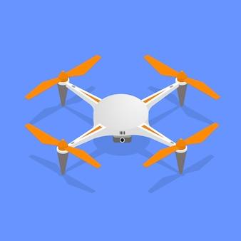 Quadrocoptère de drone aérien réaliste désactivé pour la surveillance et la vue isométrique vidéo.