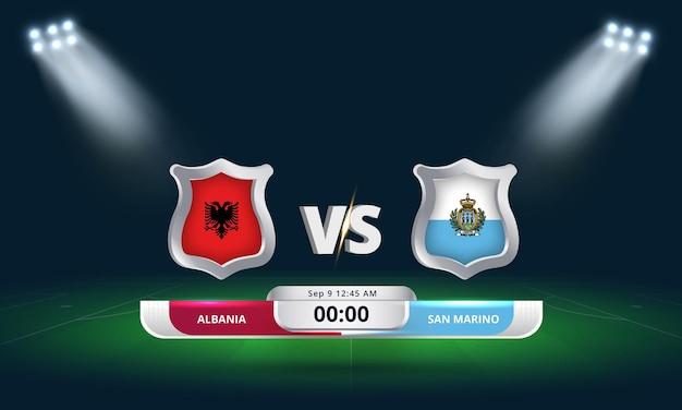 Qualification pour la coupe du monde de la fifa 2022 albanie vs saint-marin match de football