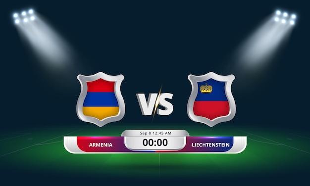 Qualification pour la coupe du monde de la fifa 2022 arménie vs liechtenstein match de football