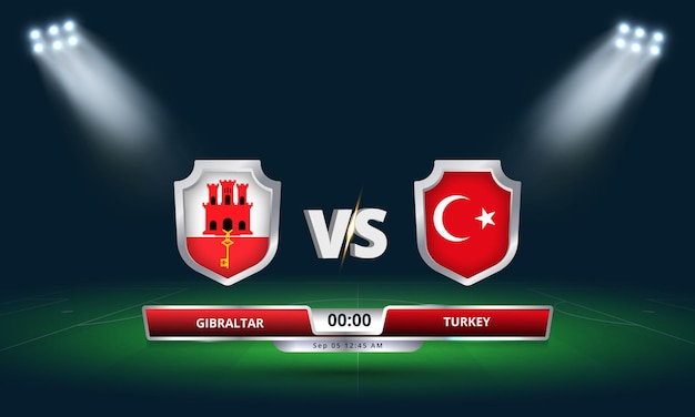 Qualification pour la coupe du monde de la fifa 2022 gibraltar vs turquie match de football