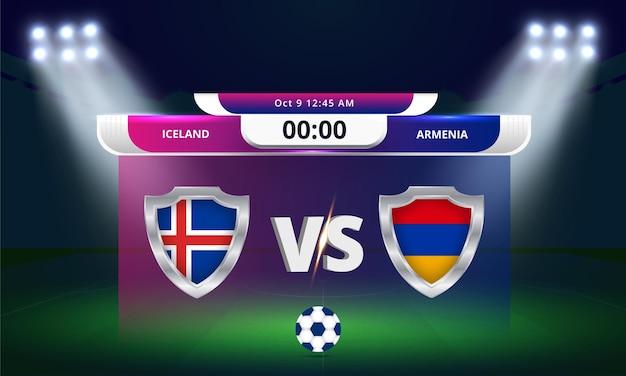 Qualification pour la coupe du monde de la fifa 2022 islande vs arménie match de football