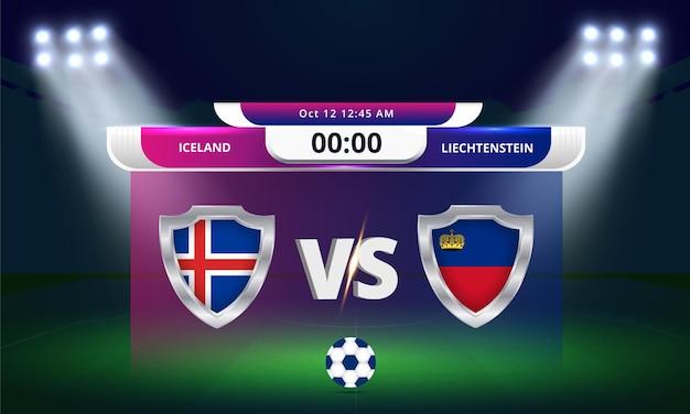 Qualification pour la coupe du monde de la fifa 2022 islande vs liechtenstein match de football