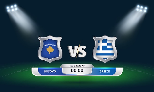 Qualification pour la coupe du monde de la fifa 2022 kosovo vs grèce match de football