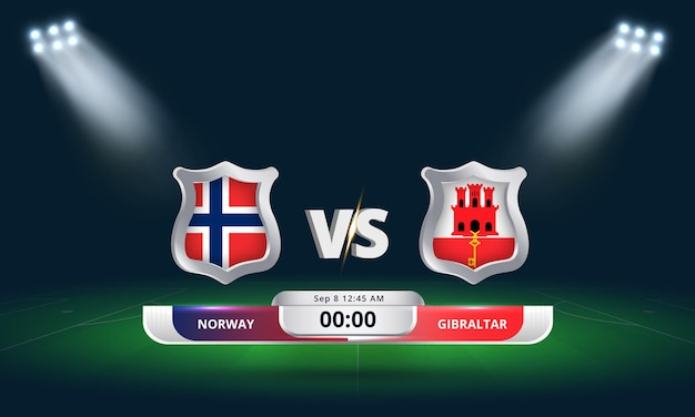 Qualification pour la coupe du monde de la fifa 2022 norvège vs gibraltar match de football