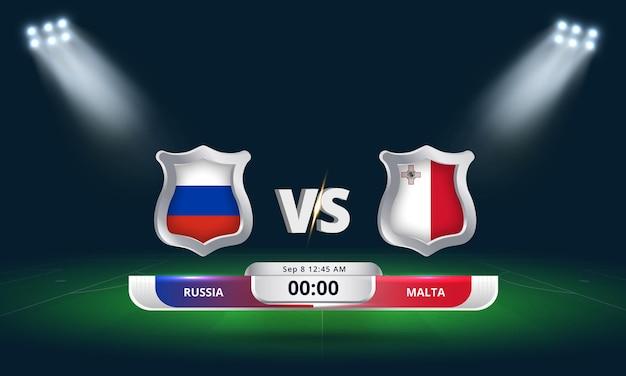 Qualification pour la coupe du monde de la fifa 2022 russie vs malte football match