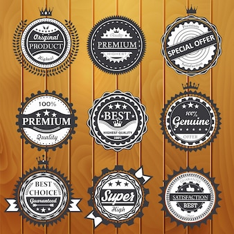 Qualité premium, garantie, authentique, illustration de badges