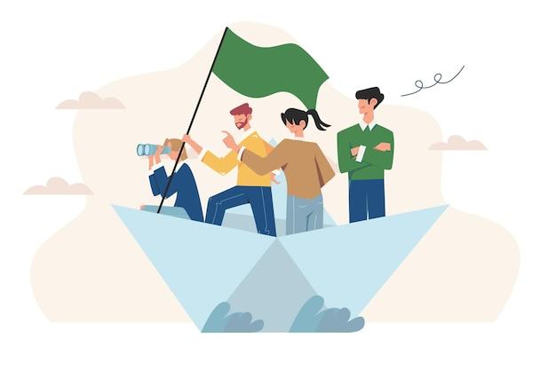 Qualités de leadership dans une équipe créative surmontant les obstacles au succès