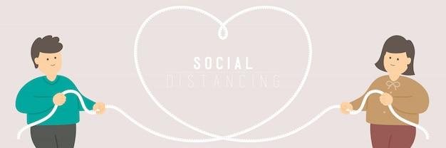 Quarantaine un homme et une femme avec un ruban à mesurer en forme de cœur aiment garder la distance de la protection épidémie de covid-19 distanciation sociale rester à la maison
