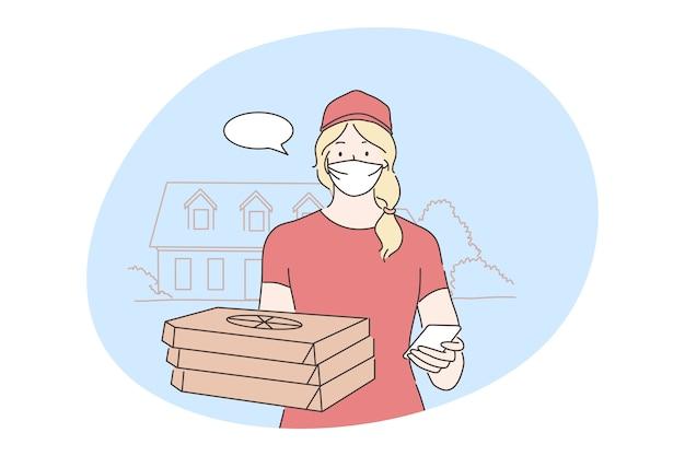 Quarantaine, infection à coronavirus, concept. personnage de dessin animé de jeune femme fournisseur traiteur debout avec pizza et payer le chèque de facture dans un masque médical. livraison de nourriture à domicile sur l'isolement 2019ncov.