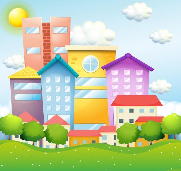 Quartier avec maisons et immeubles