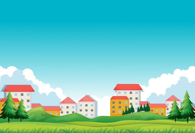 Quartier avec maisons et parc