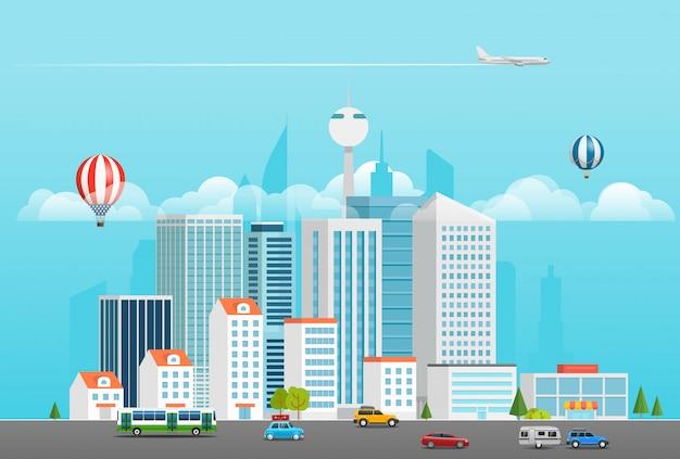 Quartier moderne avec différents véhicules