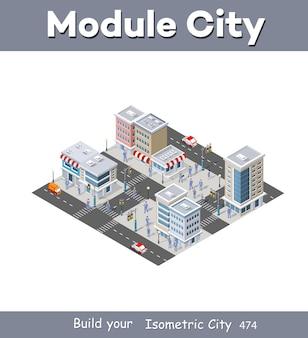 Quartier de rue isométrique faisant partie de la ville avec des bâtiments routiers à l'extérieur.