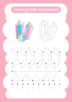 Quartz - feuille de travail pour l'écriture et le dessin de lignes de trace pour les enfants