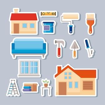 Quatorze icônes de jeu de rénovation domiciliaire