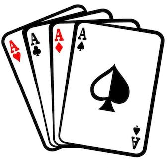 Quatre aces cartes poker clip art