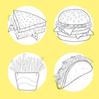Quatre aliments sur une ligne