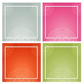 Quatre arrière-plans avec des motifs de mandala
