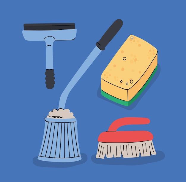 Quatre articles de nettoyage
