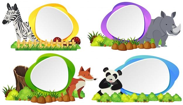 Quatre badges ronds avec des animaux sauvages