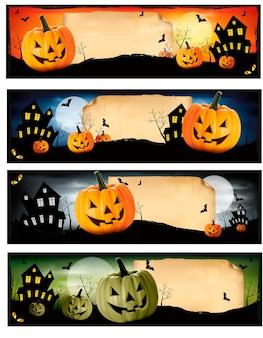 Quatre bannières d'halloween