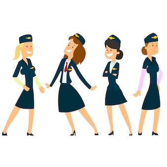 Quatre belles hôtesses en uniforme.