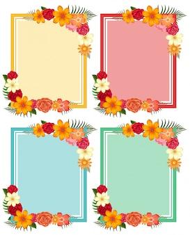 Quatre cadres avec des fleurs colorées