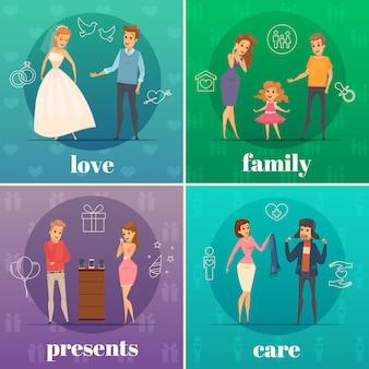 Quatre carrés plat essayant concept de gens plat boutique avec amour famille présente et description de soins vector illustration