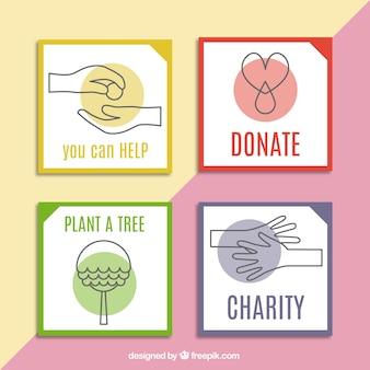 Quatre cartes mignonnes au sujet de la charité