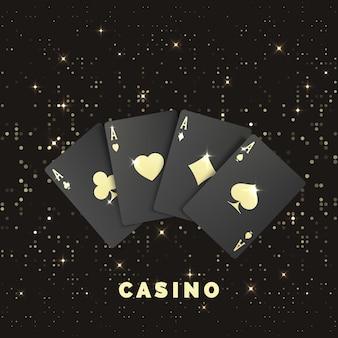 Quatre cartes de poker noires avec étiquette dorée. quads ou carré par as. bannière ou affiche de casino de style royal. illustration vectorielle
