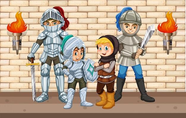 Quatre chevaliers debout près du mur