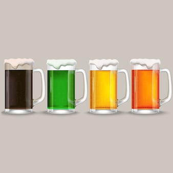 Quatre chopes de bières différentes.