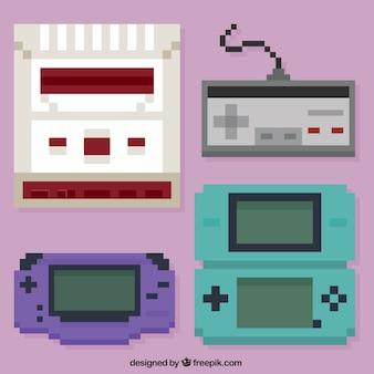 Quatre consoles pixelisés