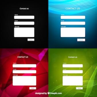 Quatre contacts modèles de courrier électronique