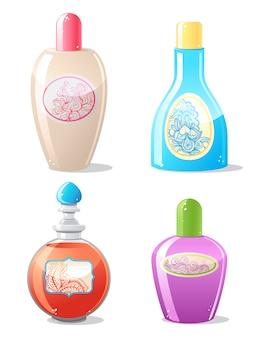 Quatre contenants de cosmétiques