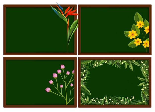 Quatre dessins de cadres avec différents types de fleurs