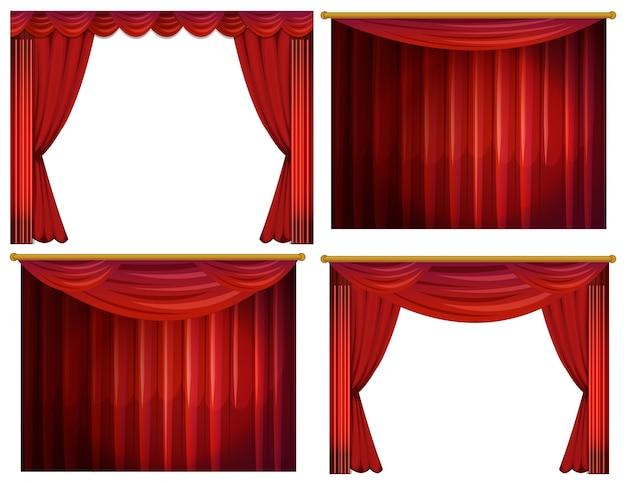 Quatre dessins d'illustration de rideaux rouges