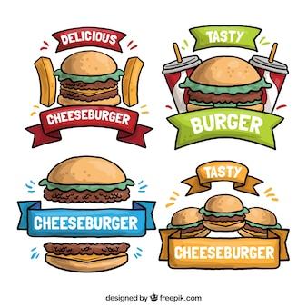 Quatre dessins tirés à la main sur un hamburger
