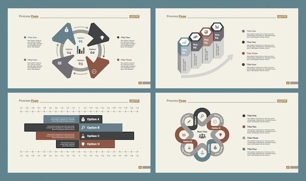 Quatre diagrammes de workflow ensembles de modèles de diapositives