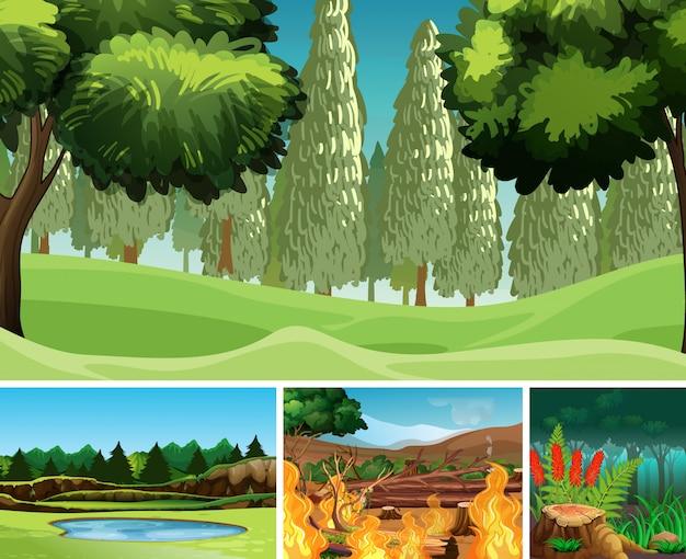 Quatre différentes scènes de catastrophes naturelles de style cartoon forestier