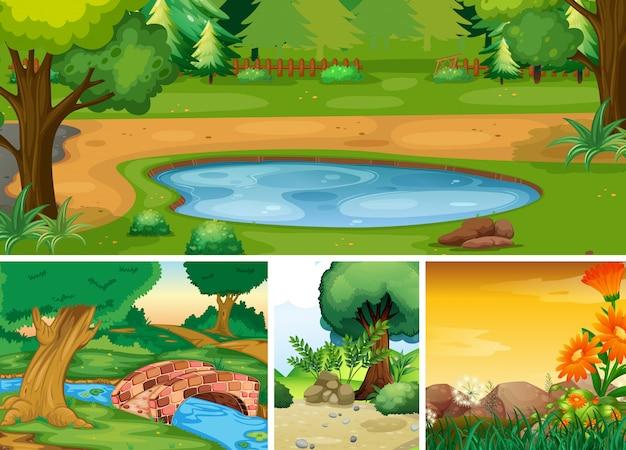 Quatre différentes scènes de la nature du style de dessin animé forêt et marais