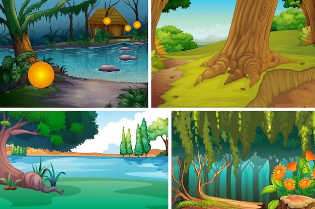 Quatre différentes scènes de la nature du style de dessin animé de la forêt et de la rivière