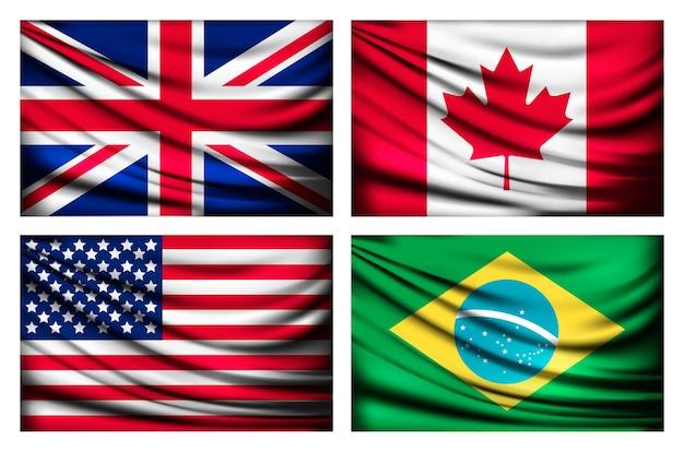 Quatre drapeaux royaume-uni, canada, états-unis, brésil.