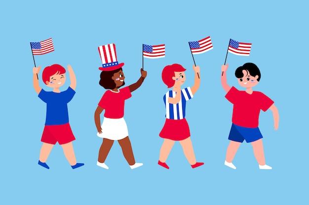 Quatre du jour de l'indépendance de juillet concept. des enfants américains secouent le drapeau national